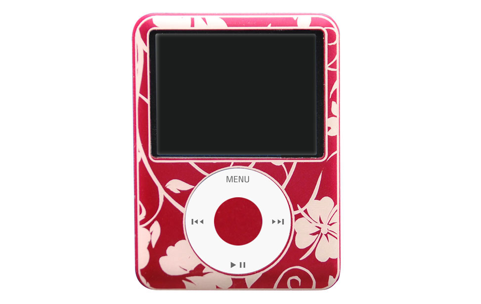 Roter Apple iPod Nano mit graviertem Hawaii-Muster